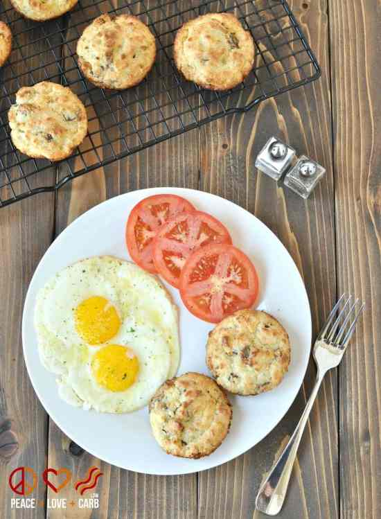 White Cheddar Sausage Breakfast Biscuits   Peace Love and Low Carb