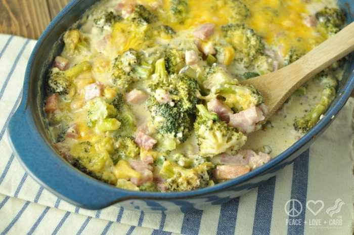 Cheesy Ham and Broccoli Casserole - Low Carb, Gluten Free | Peace Love and Low Carb