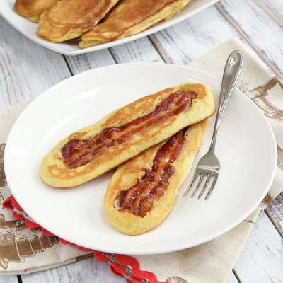 Crispy Bacon Pancakes - From The KetoDiet Cookbook - Low Carb, Gluten Free