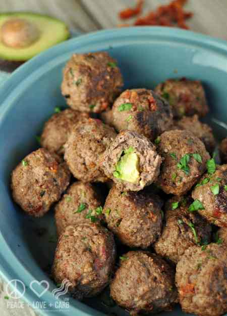 White Cheddar and Sun Dried Tomato Avocado Stuffed Meatballs - Low Carb, Gluten Free   Peace Love and Low Carb