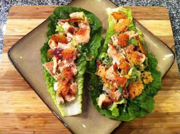 Chicken Caesar Lettuce Wraps with Garlic Parmesan Croutons | Peace Love and Low Carb