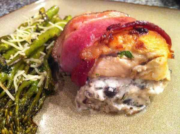 Bacon Wrapped Chicken Stuffed with Mushroom Ricotta | Peace Love and Low Carb