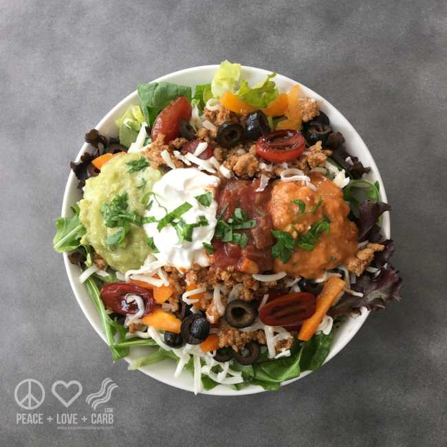 Taco Salad in a Bowl   Salad a Day Challenge   Peace Love and Low Carb