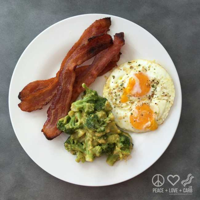 Bacon, Eggs, and Broccoli with Cheese - Low Carb, Gluten Free | Peace Love and Low Carb