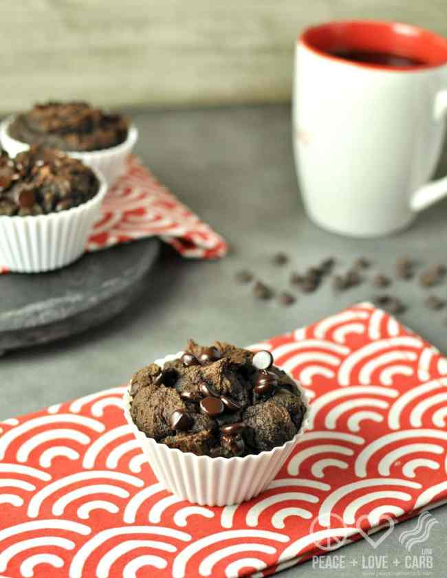 Double Chocolate Chip Pumpkin Spice Muffins - Low Carb, Gluten Free | Peace Love and Low Carb