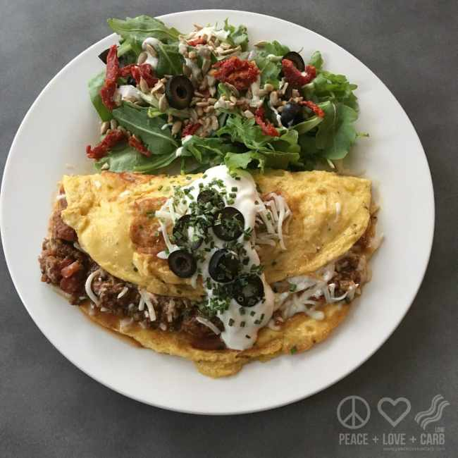 Low Carb Chili Cheese Omelette | Peace Love and Low Carb