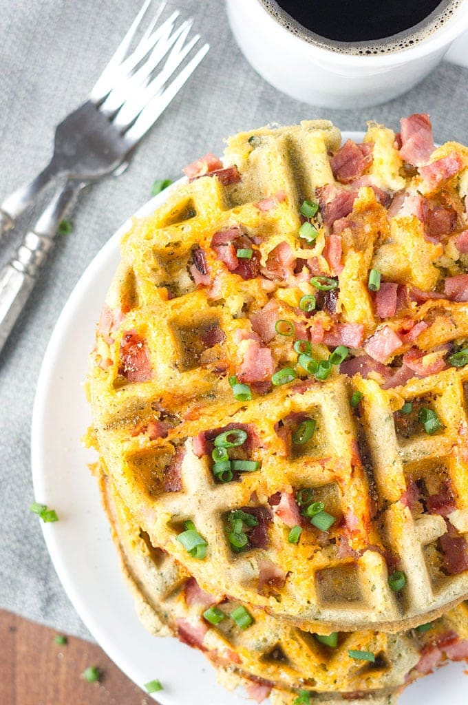 Low Carb Ham and Cheese Waffles