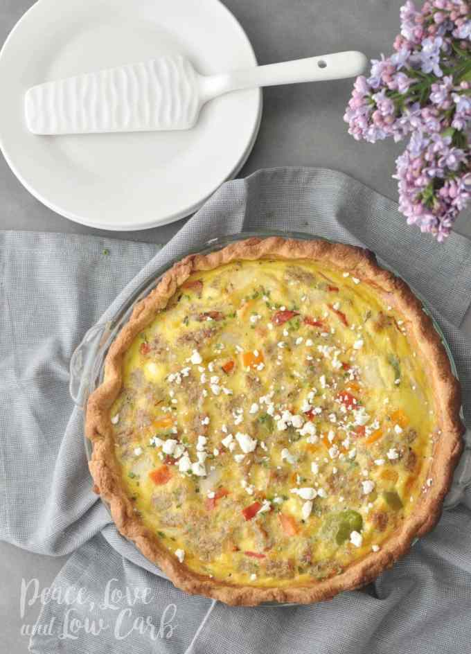 Low Carb Sausage and Vegetable Quiche with Feta | Peace Love and Low Carb