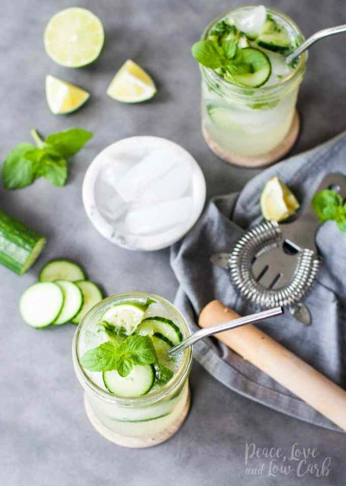 Low Carb Cucumber Mojitos   Peace Love and Low Carb