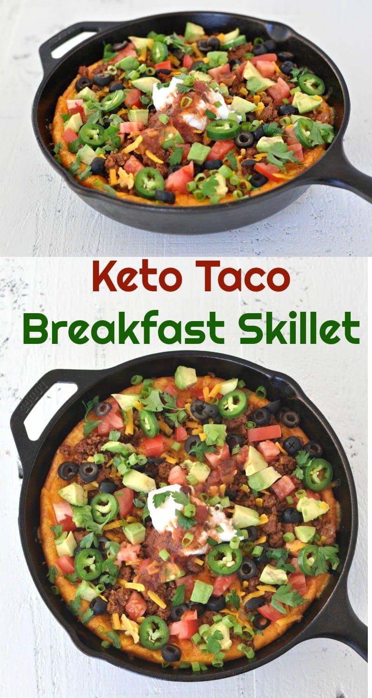 Keto Taco Breakfast Skillet |   #tacotuesday #lowcarb #keto #breakfast #one pot meal