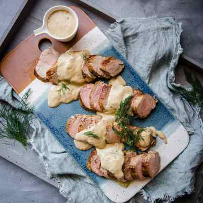 Pork Tenderloin with Creamy Dill Sauce | Peace Love and Low Carb