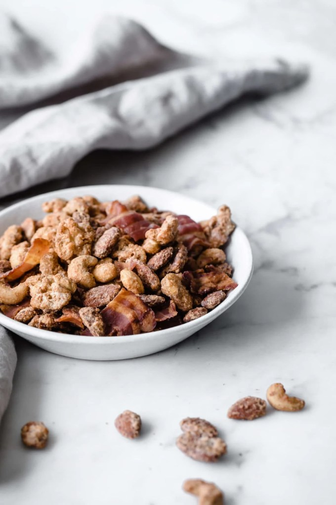 Keto Candied Nuts with Bacon | Peace Love and Low Carb