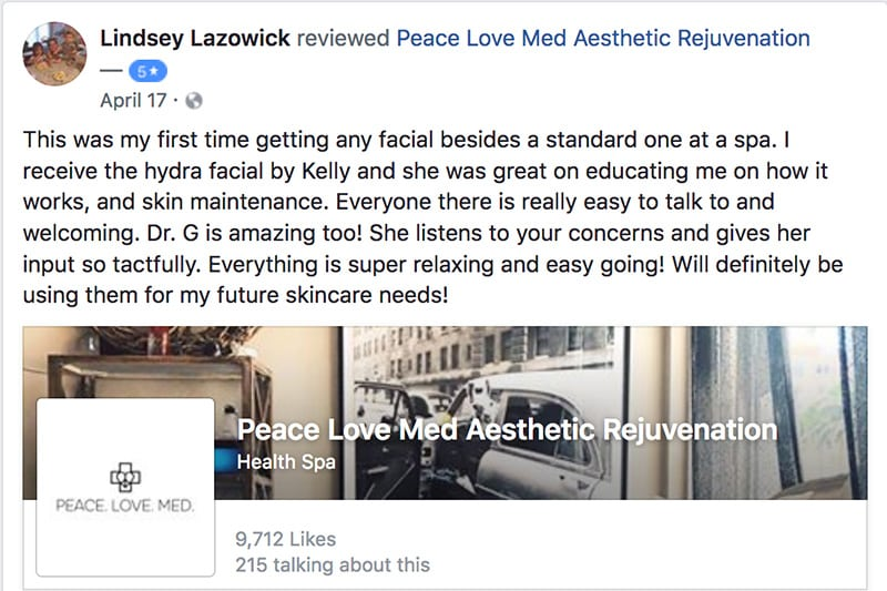 Lindsay's testimonial about Peace.Love.Med.
