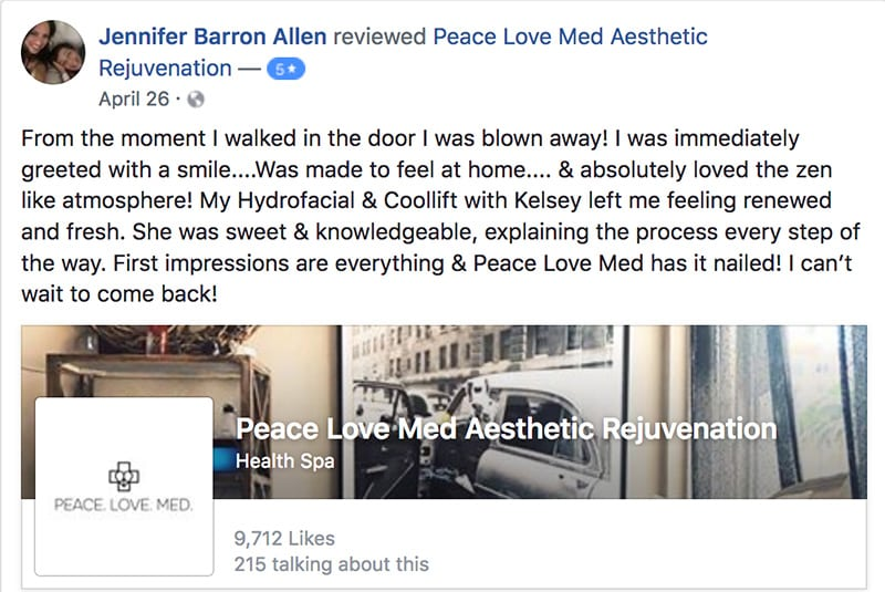 Jennifer's testimonial about Peace.Love.Med.