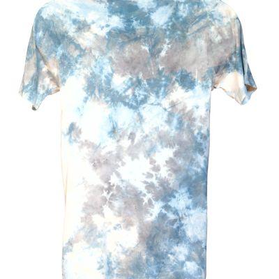 Hemp tee dyed and printed