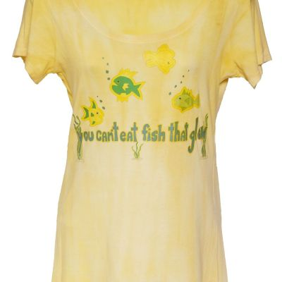 Fish Glow printed on Bamboo Scoop neck dyed with turmeric