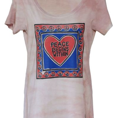 Peace Begins Within printed on dyed bamboo scoop
