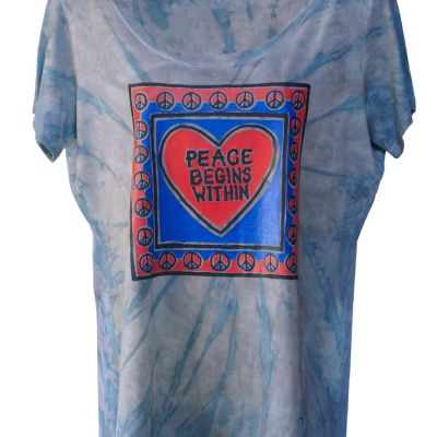 Peace Begins Within printed on Bamboo Scoop neck
