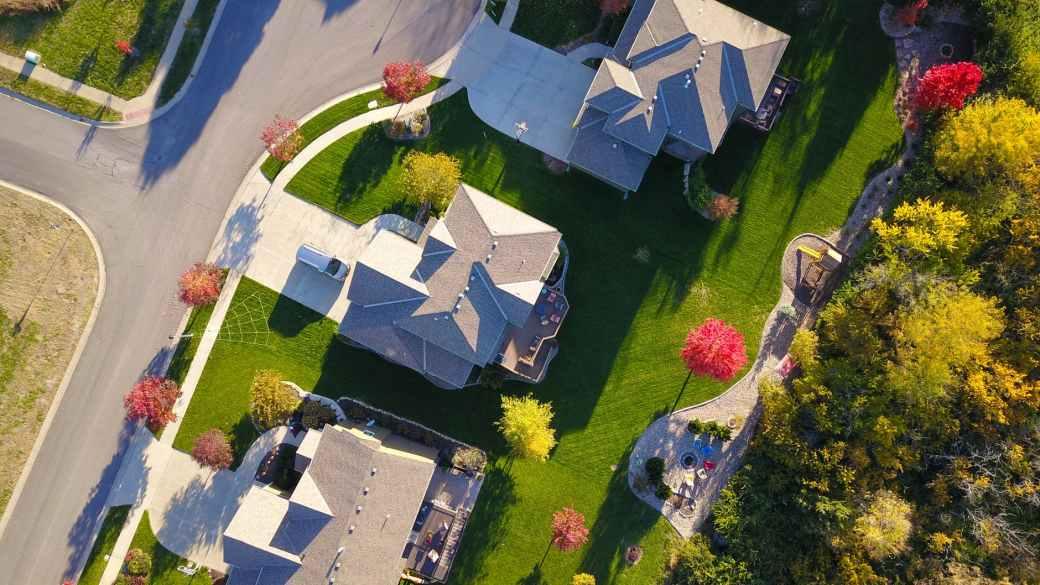 birds eye view of three roofs