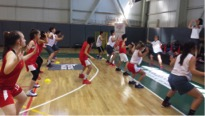 The campers practicing drills together