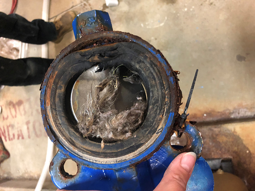 Debris stuck in a old rusted valve