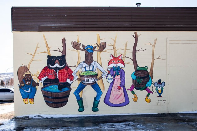 Painted by Shannon Brown located on the side of Peace River Brewing.