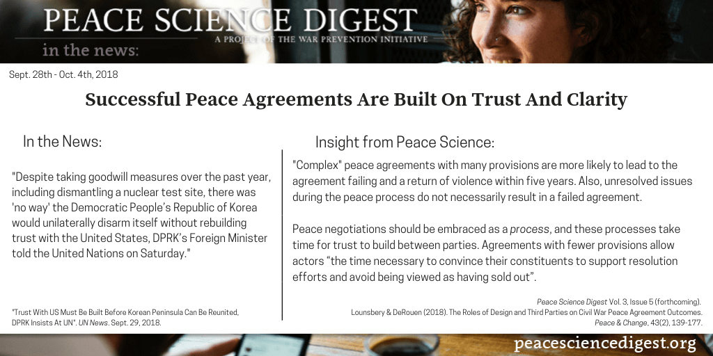 Successful Peace Agreements Are Built On Trust And Clarity Peace