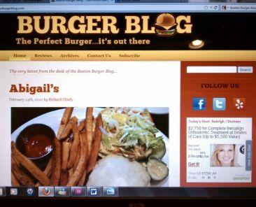"""""""burgetr blog"""" website homepage"""