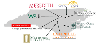 Map of North Carolina with locations of carrer fairs at different universities.