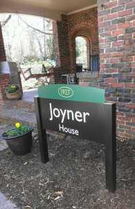 Sign outside Joyner House