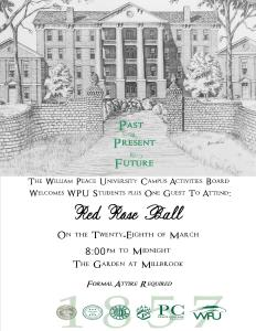 Advetisment for Red Rose ball with a sketching of Main Building on the cover.