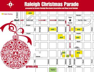 Map demonstrating the path of the Raleigh Christmas Parade