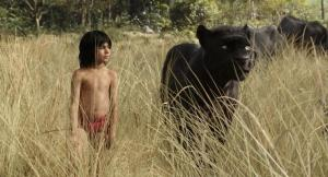 Small boy clad in a red garment stands to the left of an animated black panther