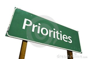 "Sign reading ""Priorities"""