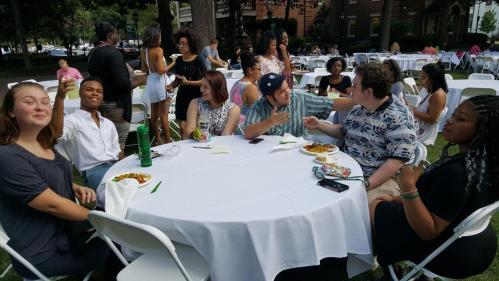 WPU students having dinner on Main lawn