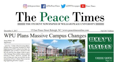 Front page of the Peace Times print newspaper