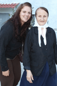 Brenna Mickey with a lady who took care of her in Albania.