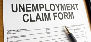 Unemployment claim form on an office table