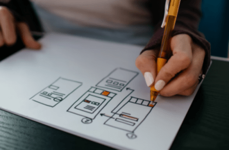 A UX Designer Drawing A Wireframe for a Mobile App