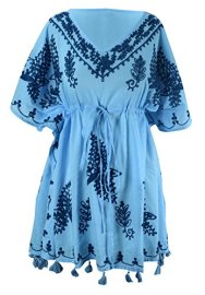 Boho Cotton Floral Embroidered Cover-up Beachwear Kaftan Tunic Blue Navy