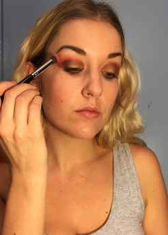 Again, start where the previous color ends and follow the natural curve of your lid.