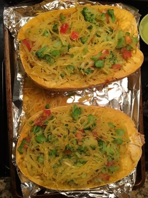 spaghetti squash with broccoli and pepper jack3