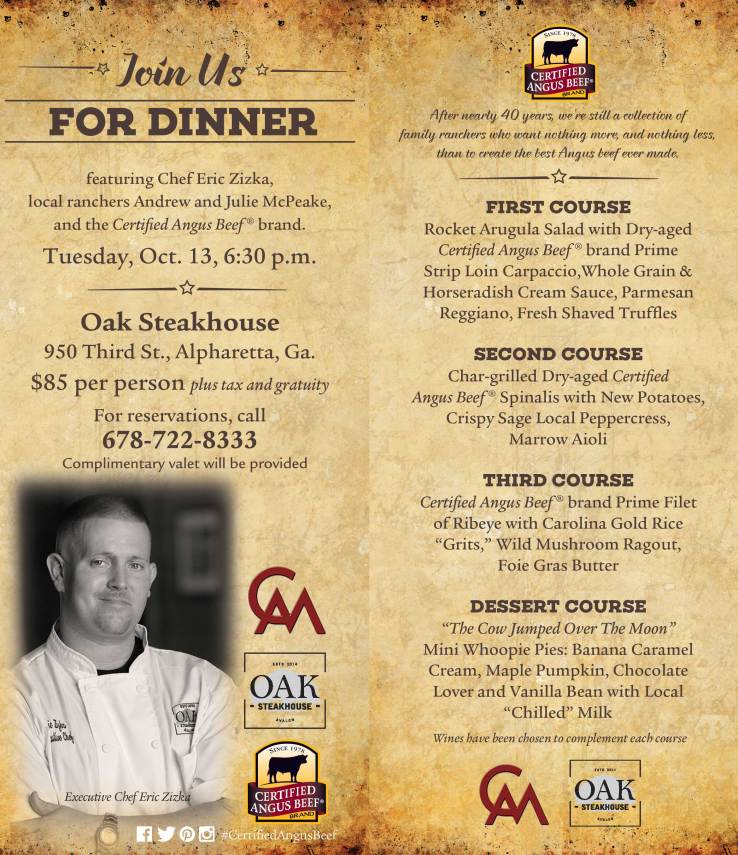 Oak Steakhouse event invitation