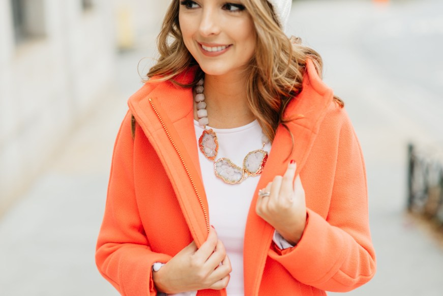 Orange coat for winter