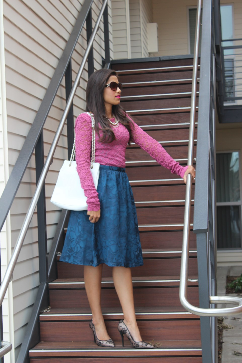 Blue Midi Skirt and Pink Lace Top 2