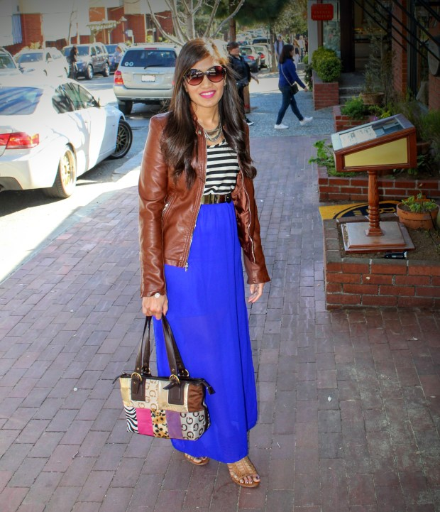 Blue Maxi and Brown Leather Jacket 18