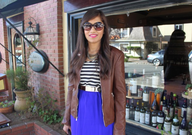 Blue Maxi and Brown Leather Jacket 20