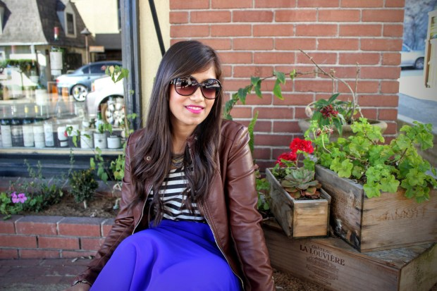 Blue Maxi and Brown Leather Jacket 21