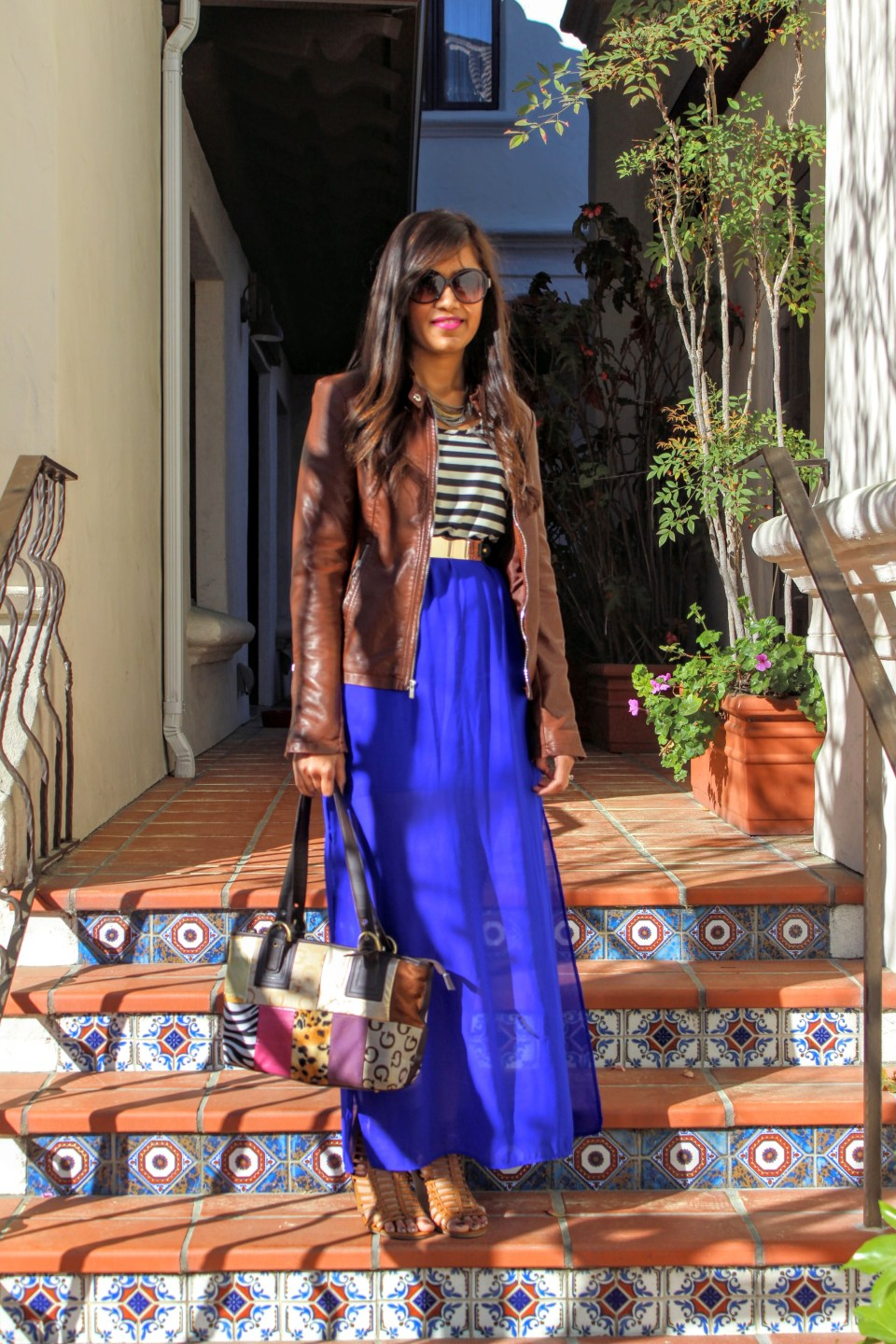 Blue Maxi and Brown Leather Jacket 8