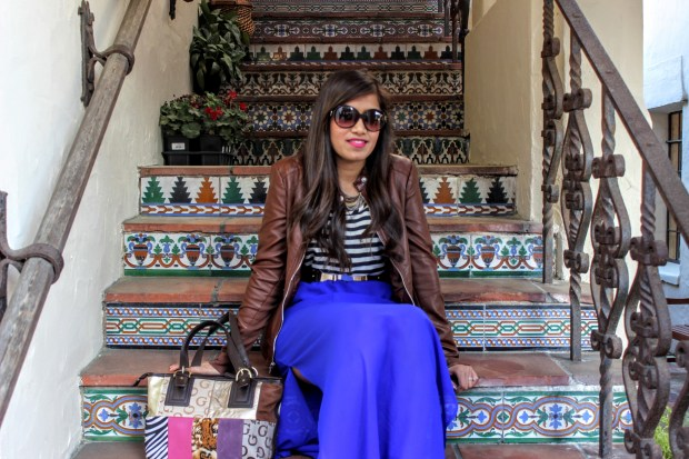 Blue Maxi and Brown Leather Jacket 15